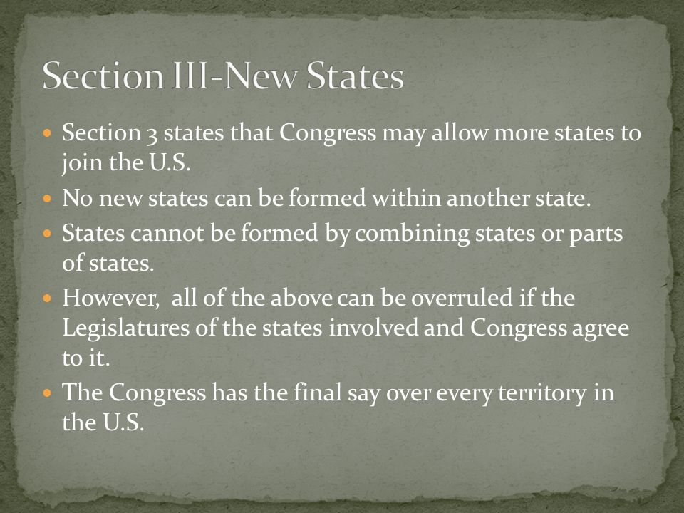 Section four states that the Unites States shall guarantee to every state in this Union a Republican form of government, and shall protect each of them against invasion; and on Application of the Legislature, or of the Executive against domestic violence.
