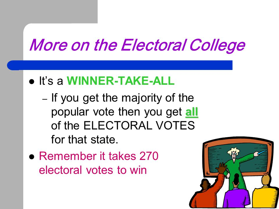 More on the Electoral College It's a WINNER-TAKE-ALL all – If you get the majority of the popular vote then you get all of the ELECTORAL VOTES for tha