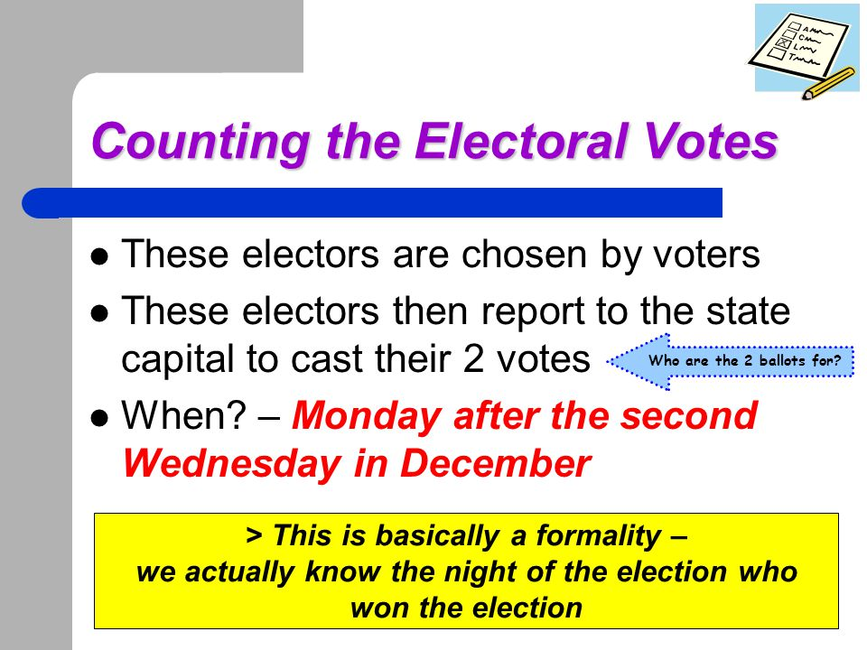 One last thing… A timeline to sum it up Electoral votes are counted Decision to run – meets 3 qualifications Electors cast votes, mail to D.C.