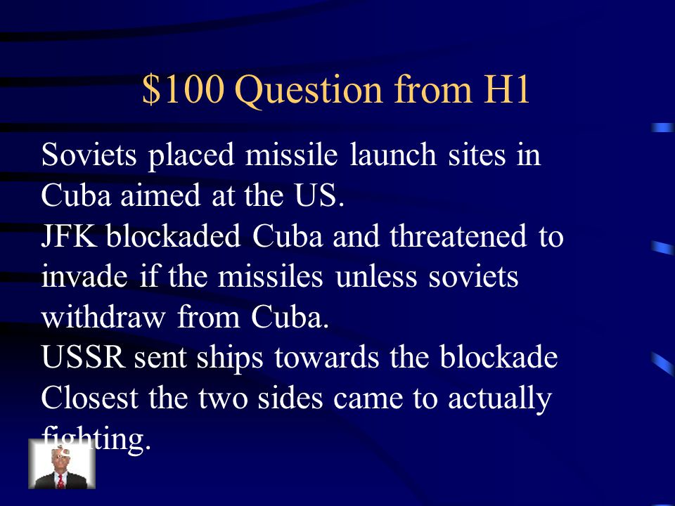 Jeopardy Cold WarStill ColdWWIIFDR 1920s Q $100 Q $200 Q $300 Q $400 Q $500 Q $100 Q $200 Q $300 Q $400 Q $500 Final Jeopardy