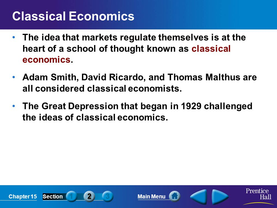 Chapter 15SectionMain Menu Classical Economics The idea that markets regulate themselves is at the heart of a school of thought known as classical eco