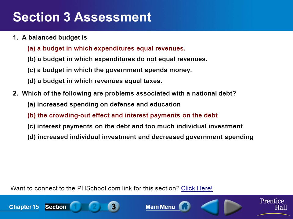 Chapter 15SectionMain Menu Want to connect to the PHSchool.com link for this section? Click Here!Click Here! Section 3 Assessment 1. A balanced budget