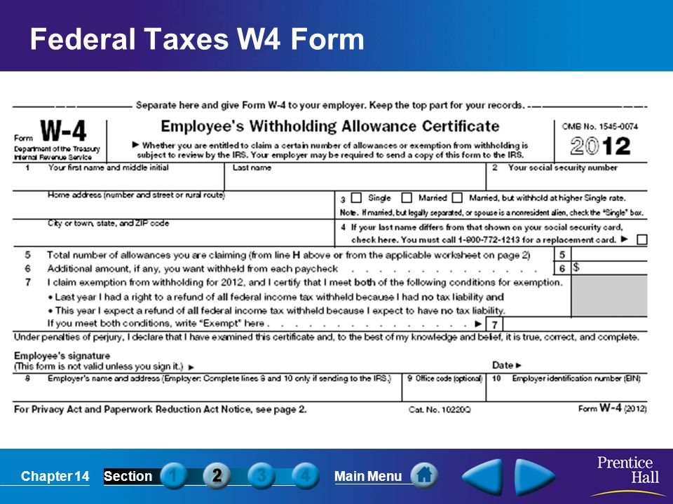 Chapter 14SectionMain Menu Federal Taxes W2 Form