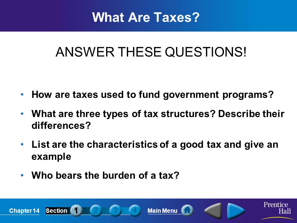 Chapter 14SectionMain Menu Funding Government Programs Citizens of the United States authorize the government, through the Constitution and elected officials, to raise money through taxes.