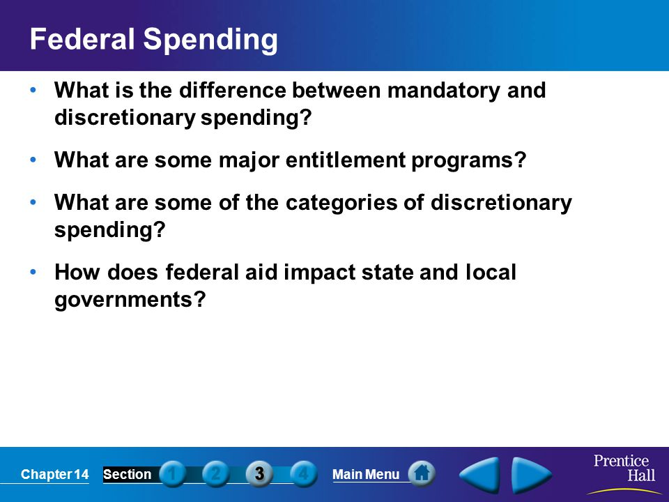 Chapter 14SectionMain Menu Mandatory and Discretionary Spending Spending Categories Mandatory spending refers to money that lawmakers are required by law to spend on certain programs or to use for interest payments on the national debt.