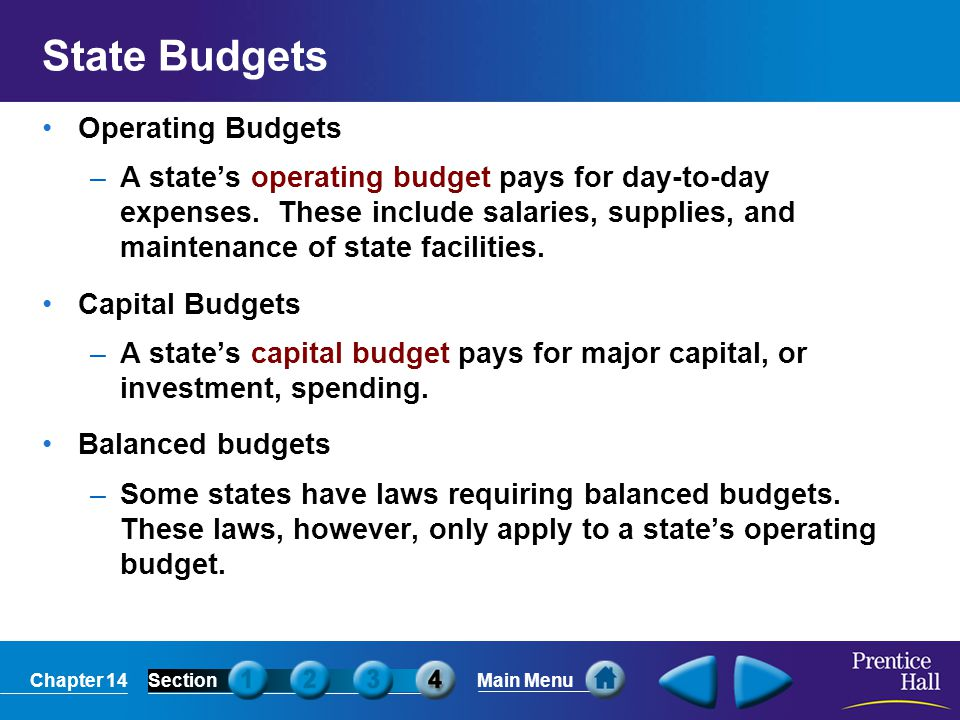 Chapter 14SectionMain Menu Where Are State Taxes Spent.