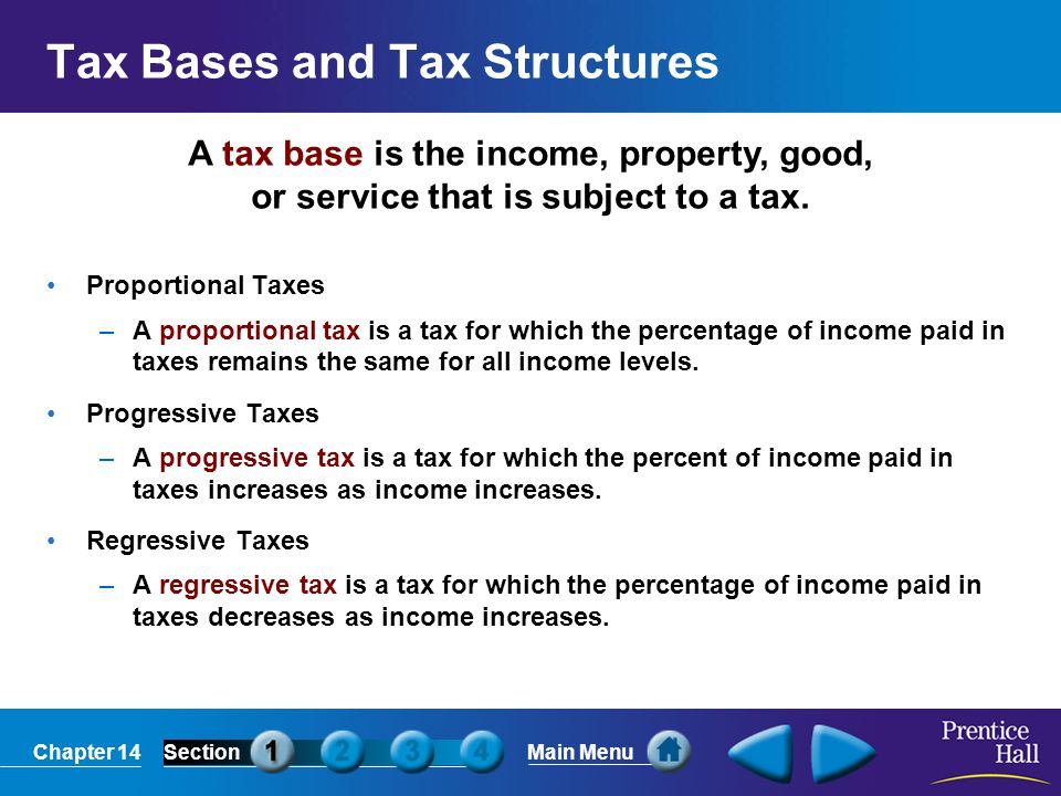 Chapter 14SectionMain Menu Characteristics of a Good Tax A good tax has the following characteristics: –Simplicity : Tax laws should be simple and easily understood.