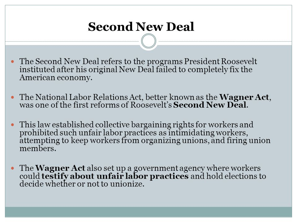 Second New Deal The Second New Deal refers to the programs President Roosevelt instituted after his original New Deal failed to completely fix the Ame