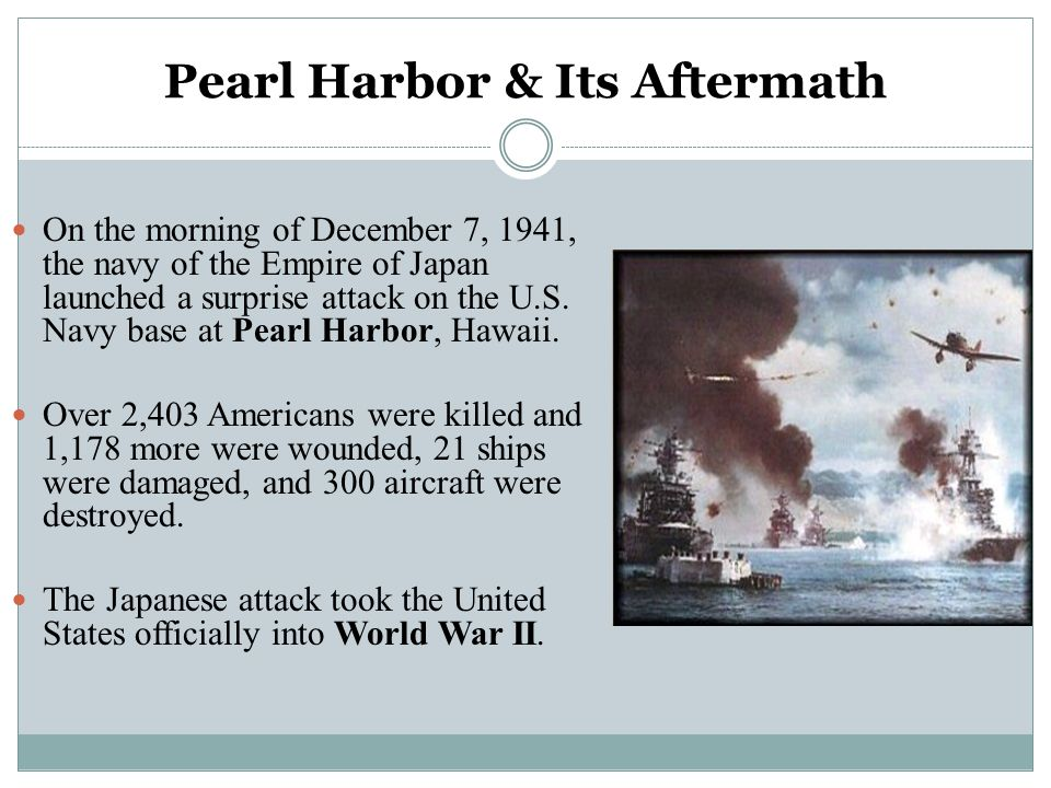 Pearl Harbor & Its Aftermath On the morning of December 7, 1941, the navy of the Empire of Japan launched a surprise attack on the U.S. Navy base at P