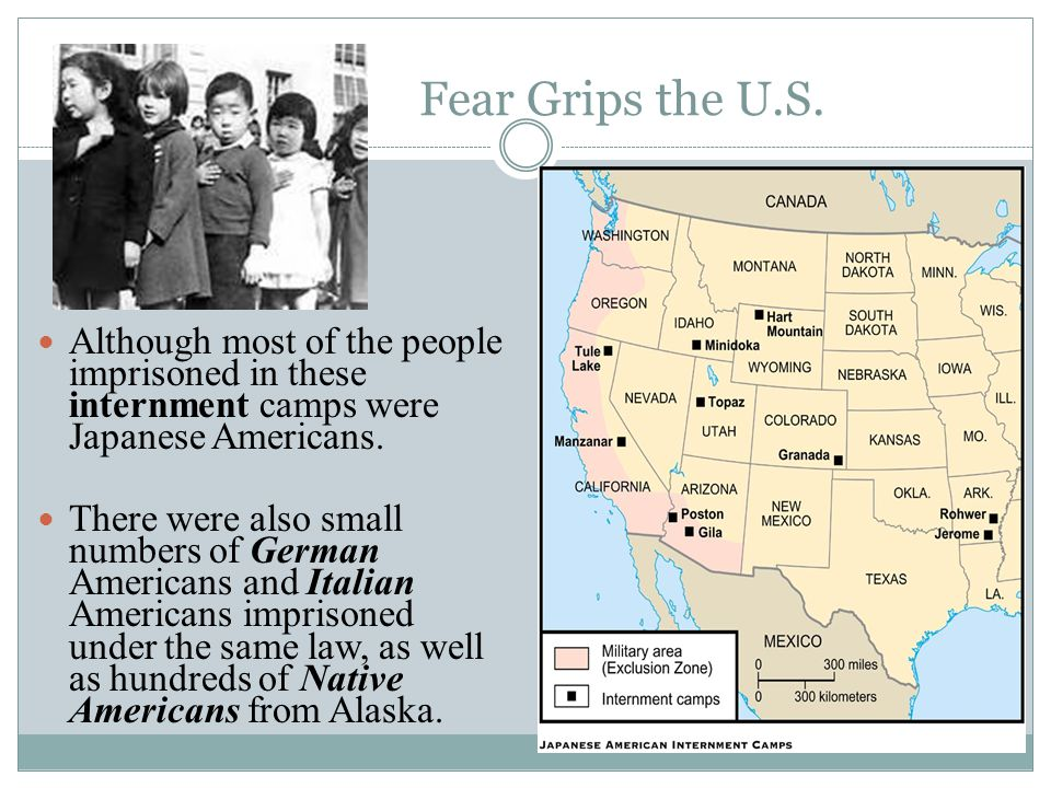 Fear Grips the U.S. Although most of the people imprisoned in these internment camps were Japanese Americans. There were also small numbers of German