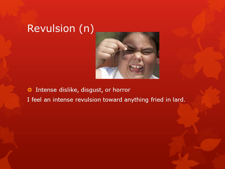 Revulsion (n)  Intense dislike, disgust, or horror I feel an intense revulsion toward anything fried in lard.