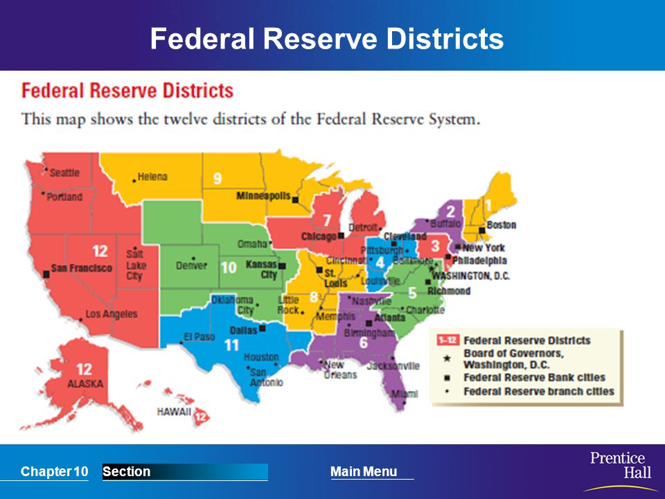 Chapter 10SectionMain Menu Federal Reserve Districts