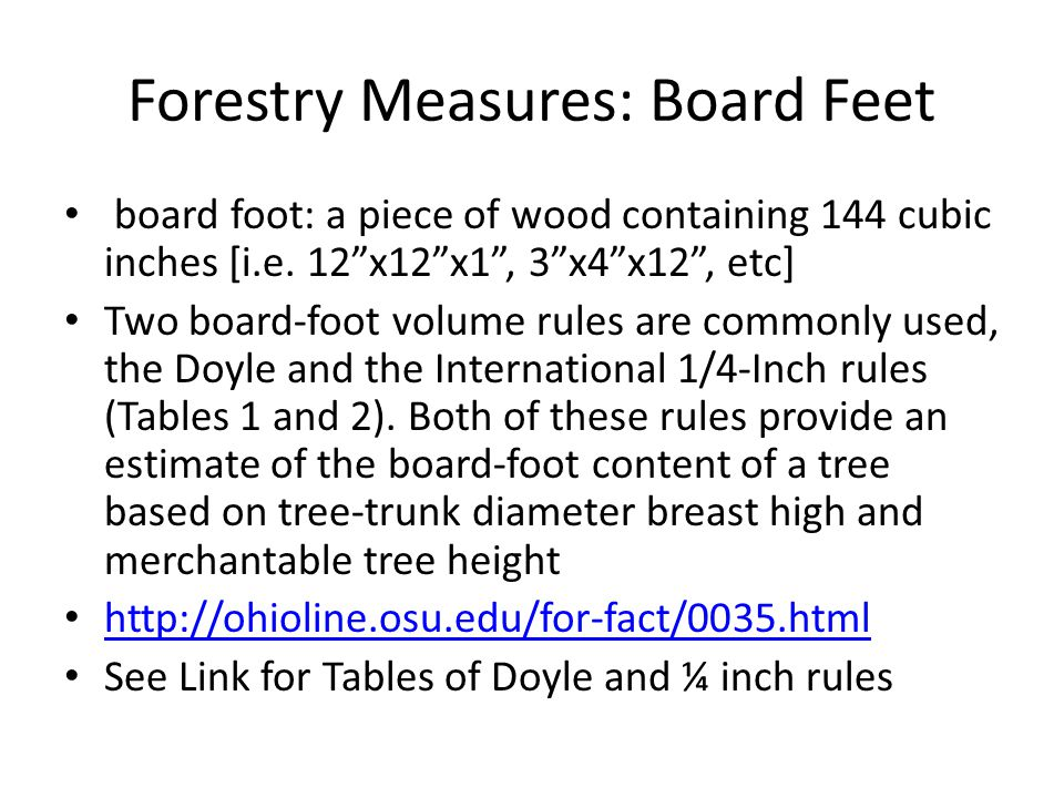 Forestry Measures: Height Move 100ft away from a tree Use a clinometer to determine the stump height and the top of the tree where its diameter is roughly 6 Take the absolute value of [height of stump] – [height of tree]