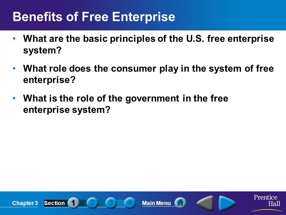 Chapter 3SectionMain Menu Several key characteristics make up the basic principles of free enterprise.