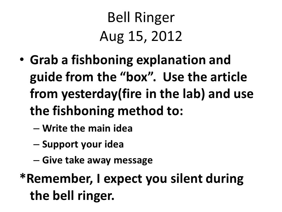 Bell Ringer Aug 16, 2012 Questions for the Author Grab the reading strategy from the box .