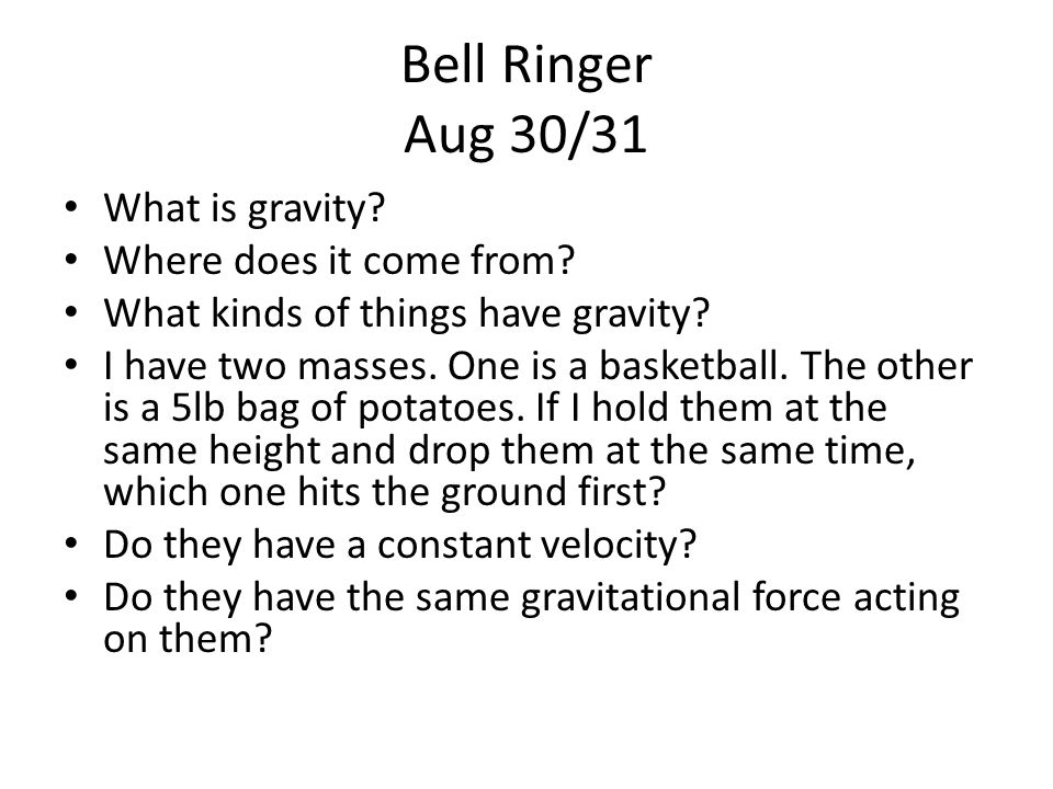 Bell Ringer Sept 4/5 Consider the graph at the right.