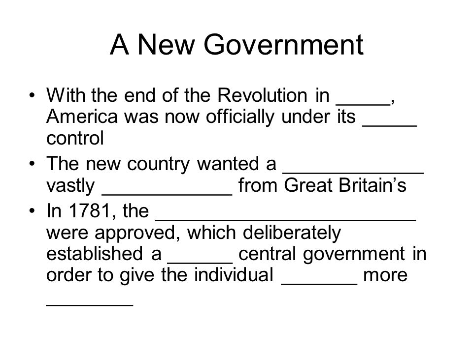 Problems in the new country The Articles of Confederation had many __________ Each state only had _____ vote in Congress There was no chief _________ (president) The government did not have the ________ to regulate _______ between the states or with foreign countries Each state had its own ___________ The __________ began moving back in and reoccupied some territory north of the Ohio River and the new government could not _____ them