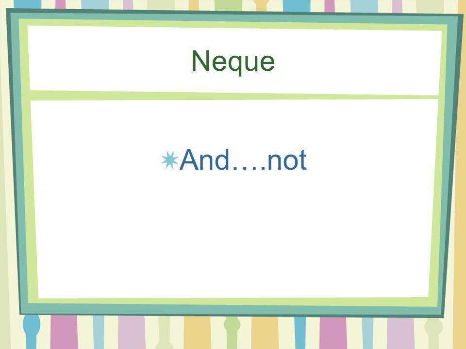 Neque And….not