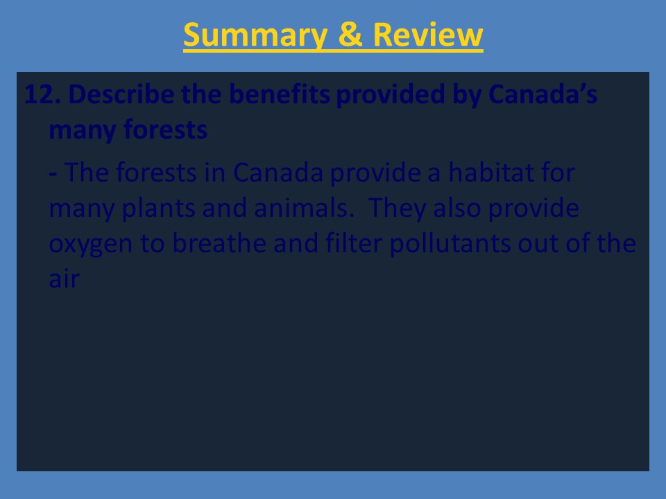 Summary & Review 12. Describe the benefits provided by Canada's many forests - The forests in Canada provide a habitat for many plants and animals. Th