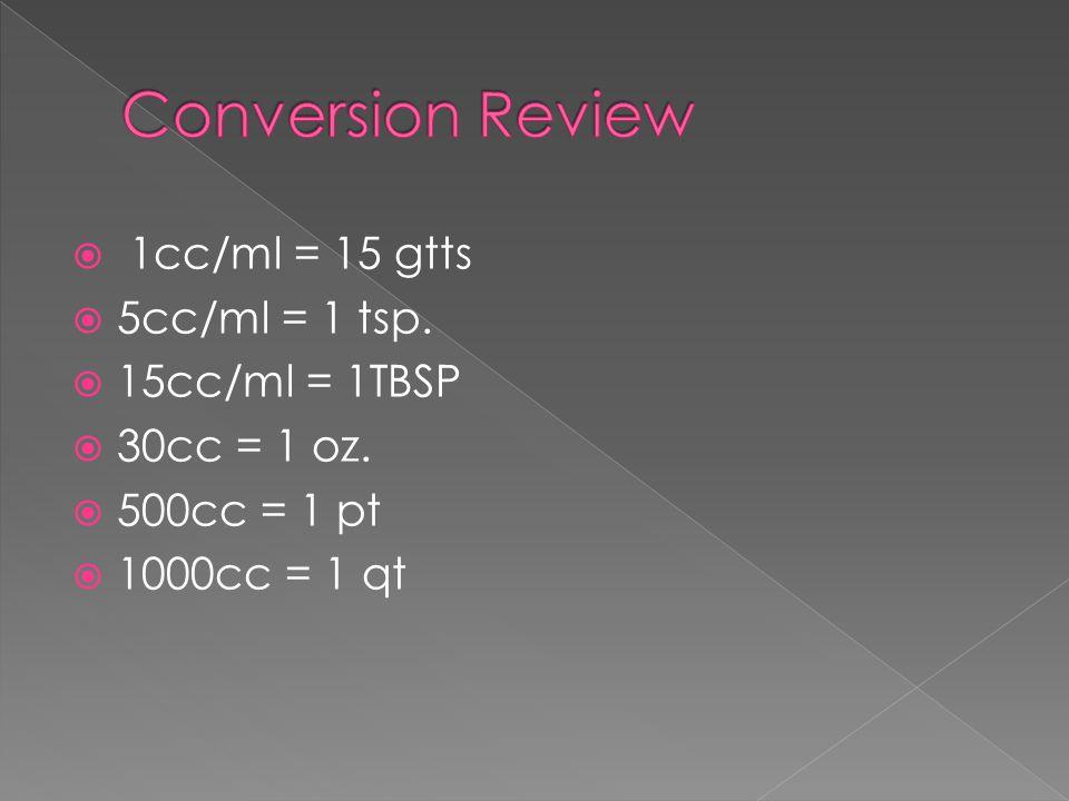 1cc/ml = 15 gtts  5cc/ml = 1 tsp.  15cc/ml = 1TBSP  30cc = 1 oz.  500cc = 1 pt  1000cc = 1 qt
