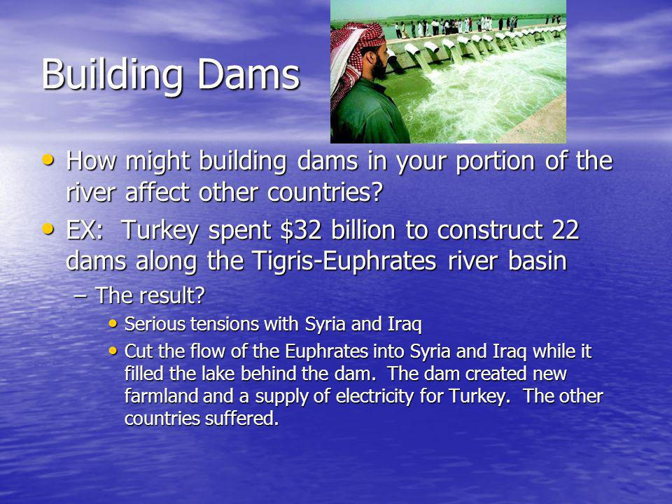 Building Dams How might building dams in your portion of the river affect other countries.