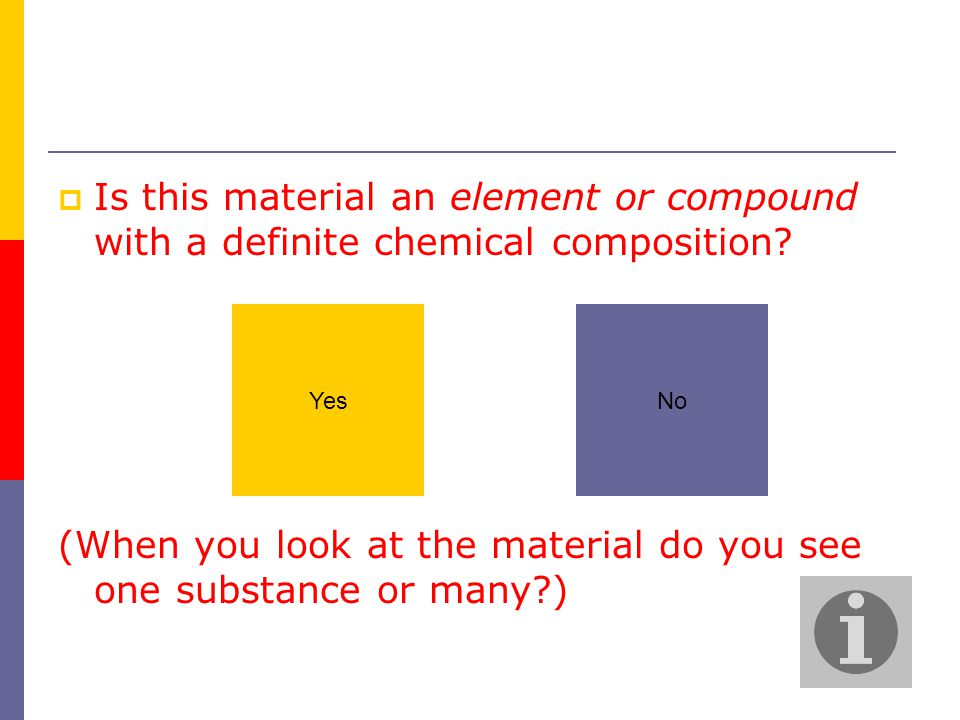  Is this material an element or compound with a definite chemical composition.