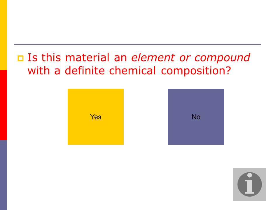  Is this material an element or compound with a definite chemical composition? NoYes