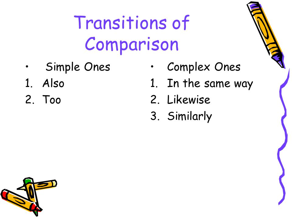 Transitions of Contrast Simple Contrast 1.But 2.Yet 3.Still 4.Even so 5.Instead 6.Otherwise 7.Regardless Complex Contrast 1.Although 2.At the same time 3.Despite that 4.In contrast 5.In spite of 6.Nevertheless 7.Notwithstanding 8.On the other hand