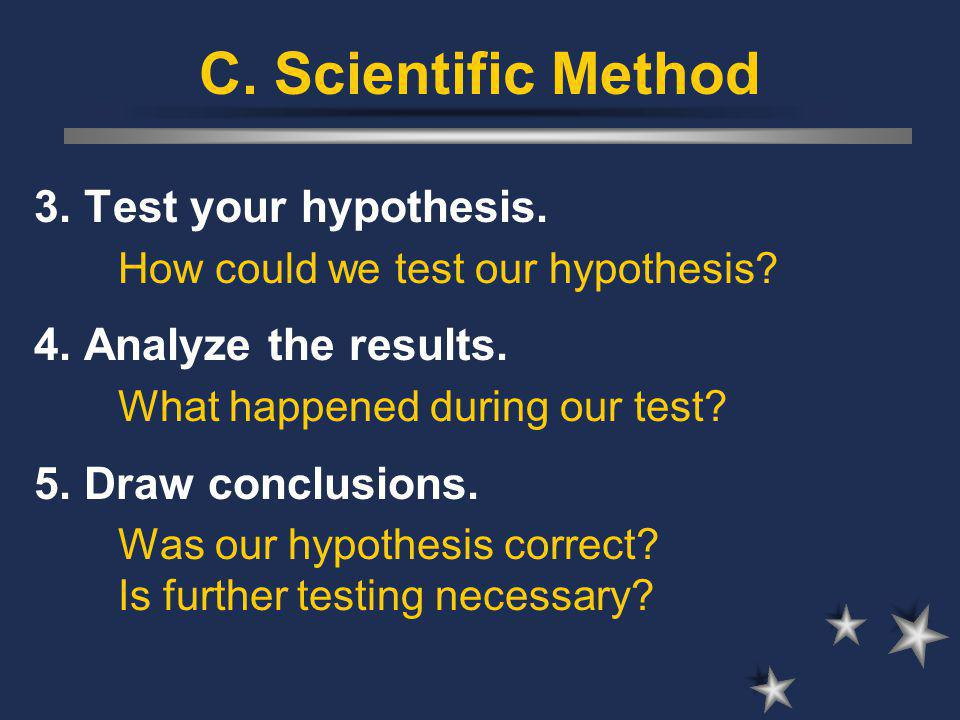 C. Scientific Method 3. Test your hypothesis. How could we test our hypothesis.