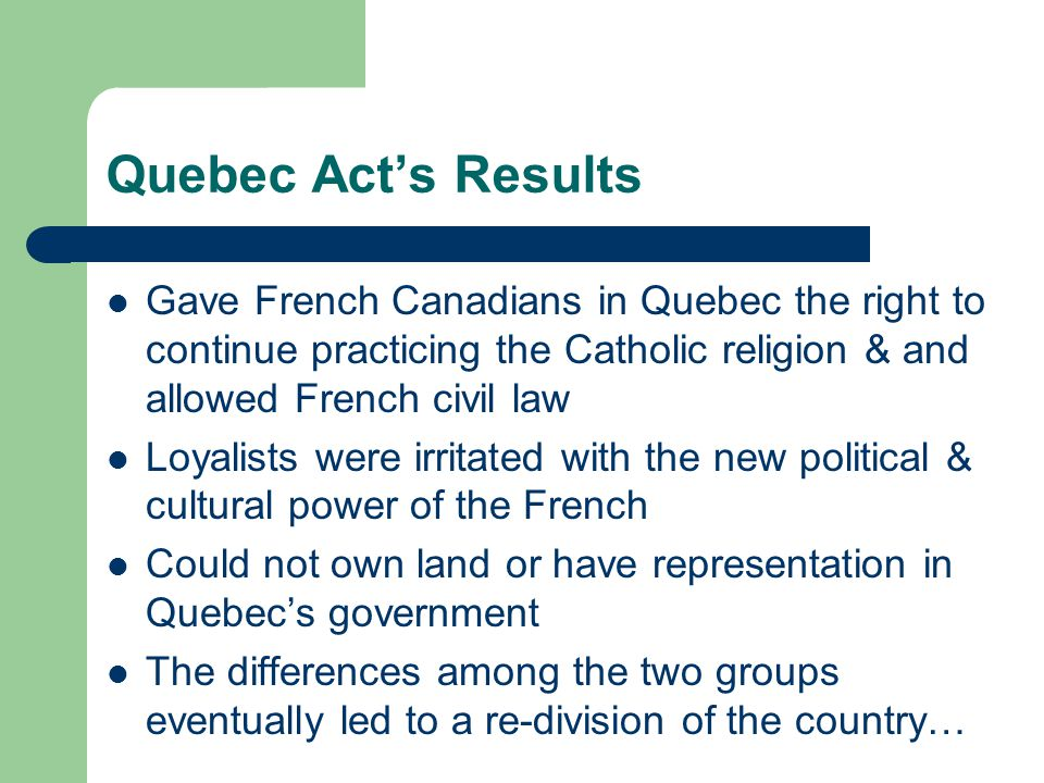 Division of Canada Most English speaking citizens lived in Upper Canada (Ontario) Most French speaking citizens lived in Lower Canada (Quebec) DDDDDD
