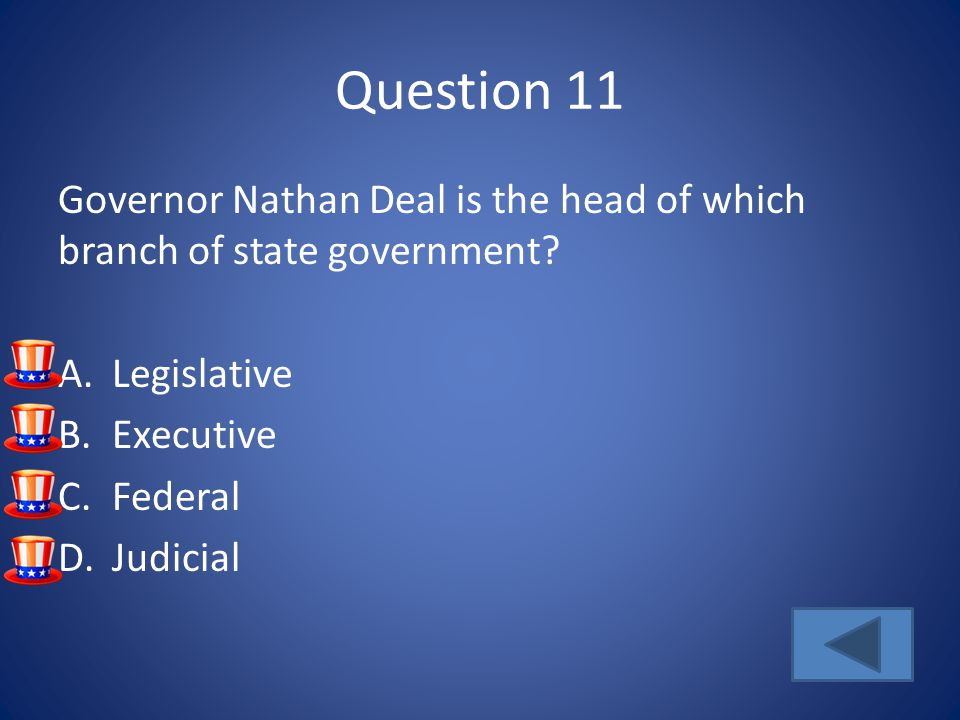 Question 11 Governor Nathan Deal is the head of which branch of state government.