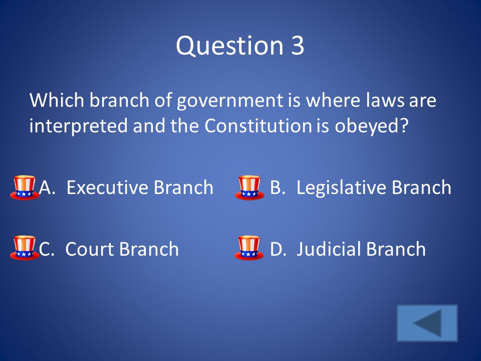 Question 3 Which branch of government is where laws are interpreted and the Constitution is obeyed.