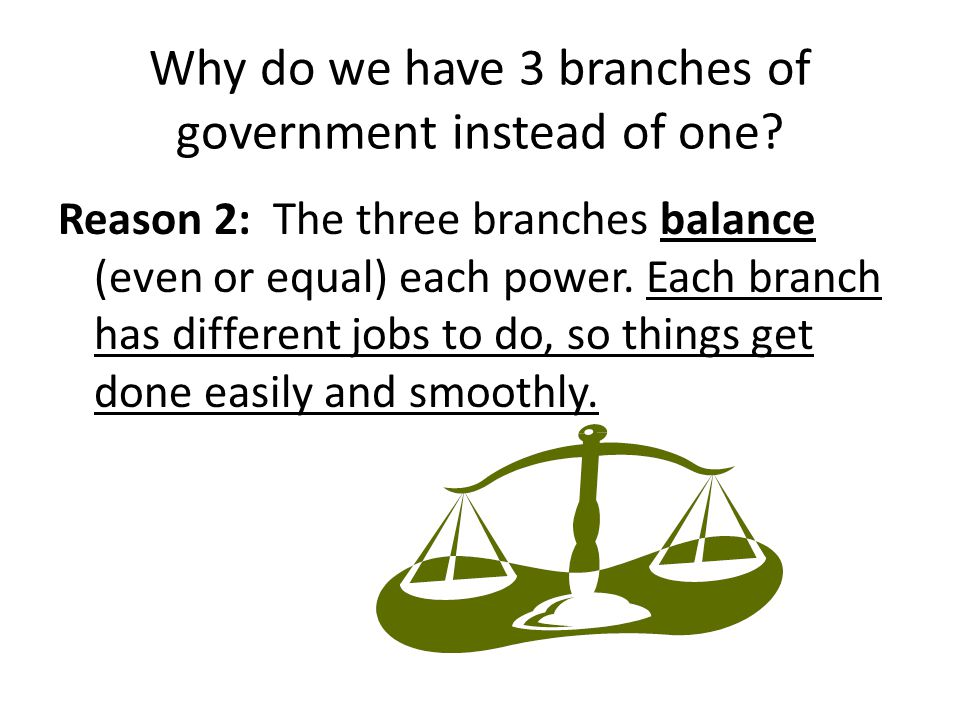 The Legislative Branch This branch is a group of representatives who makes the laws.
