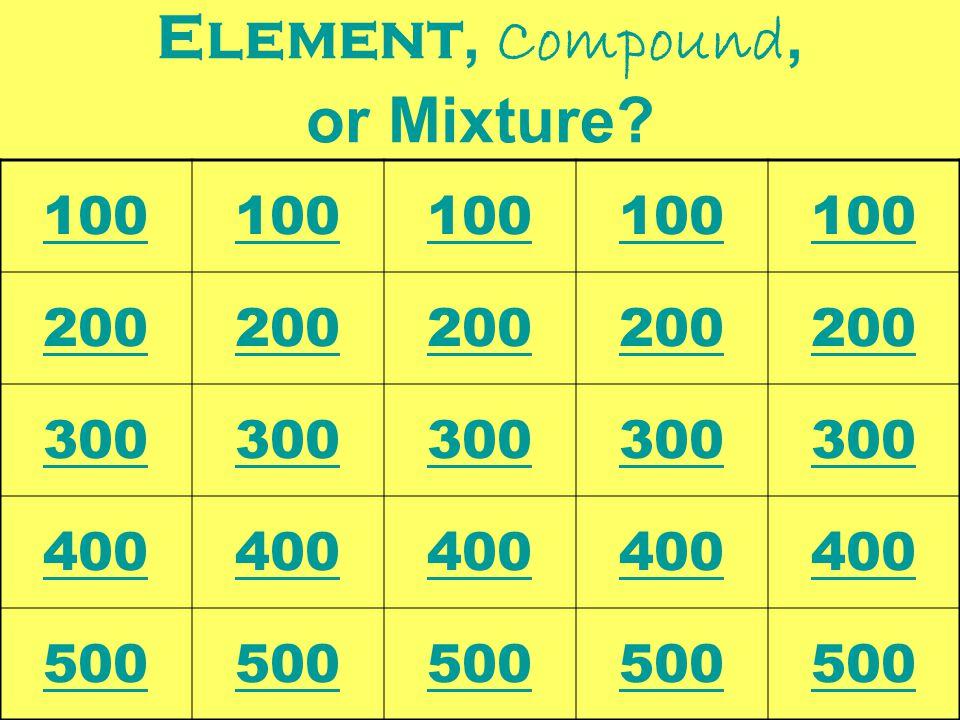 Element, Compound, or Mixture? 100 200 300 400 500