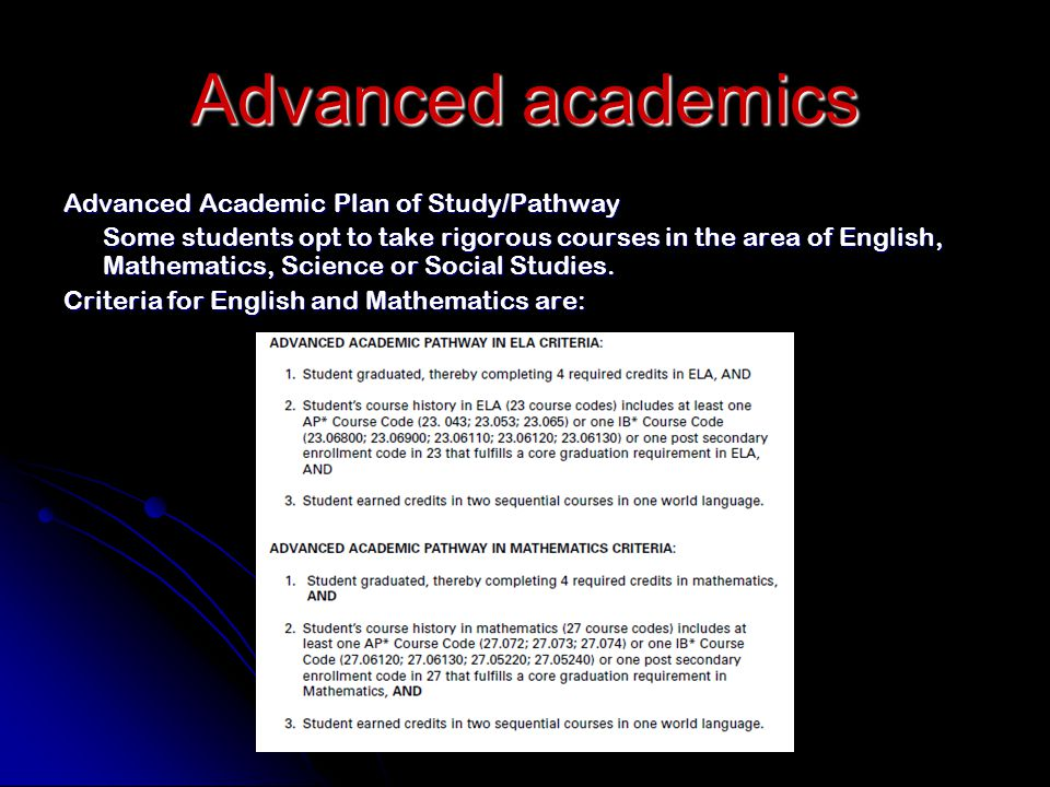 Advanced academics Advanced Academic Plan of Study/Pathway Some students opt to take rigorous courses in the area of English, Mathematics, Science or