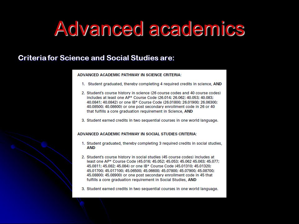 Advanced academics Criteria for Science and Social Studies are: Slide 22
