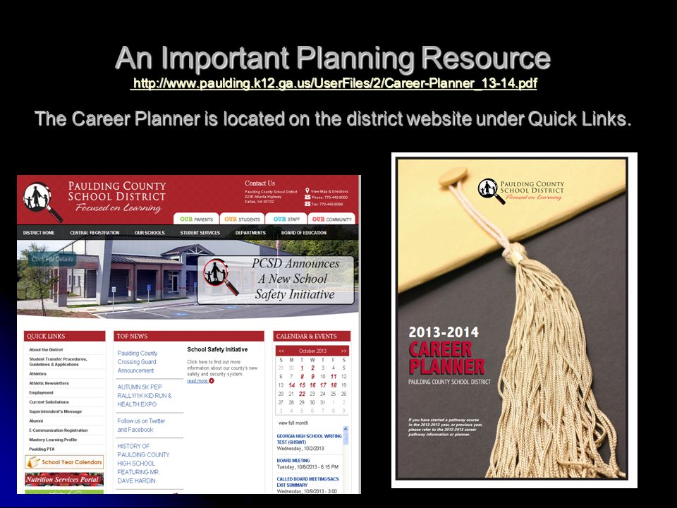 An Important Planning Resource http://www.paulding.k12.ga.us/UserFiles/2/Career-Planner_13-14.pdf The Career Planner is located on the district websit