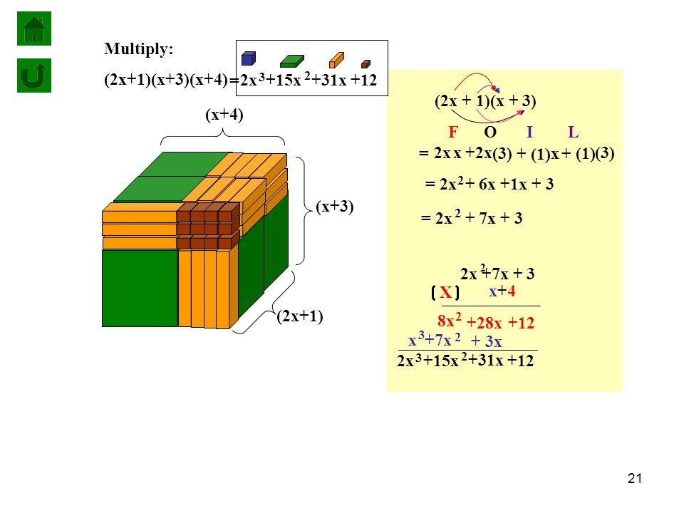 21 Multiply: (2x+1)(x+3)(x+4) (2x + 1)(x + 3) (3) x (1) 2x x +2x + (1) (3) + F O I L = 2x + 7x + 3 2 = 2x + 6x +1x + 3 2 = x+4x+4 X +12+28x + 3x +7x 2 8x 2 x 3 2x +7x + 3 2 +12 +31x 2x 3 +15x 2 +12 +31x 2x 3 +15x 2 = (x+3) (x+4) (2x+1)