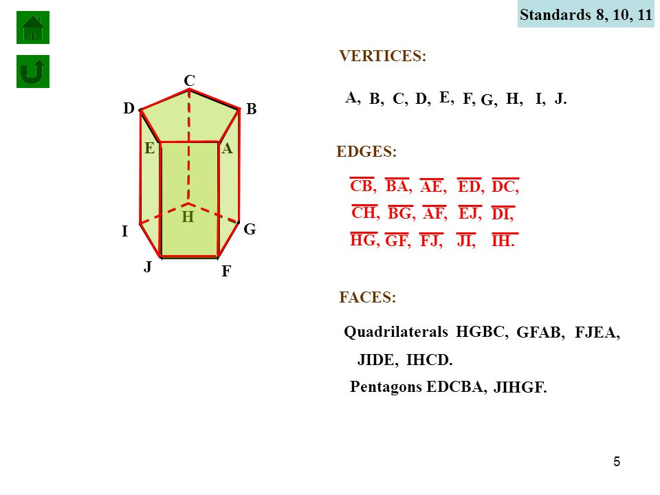 5 VERTICES: A A, B B, C C, D D, E E, F F, G G, H H, I I, J J.