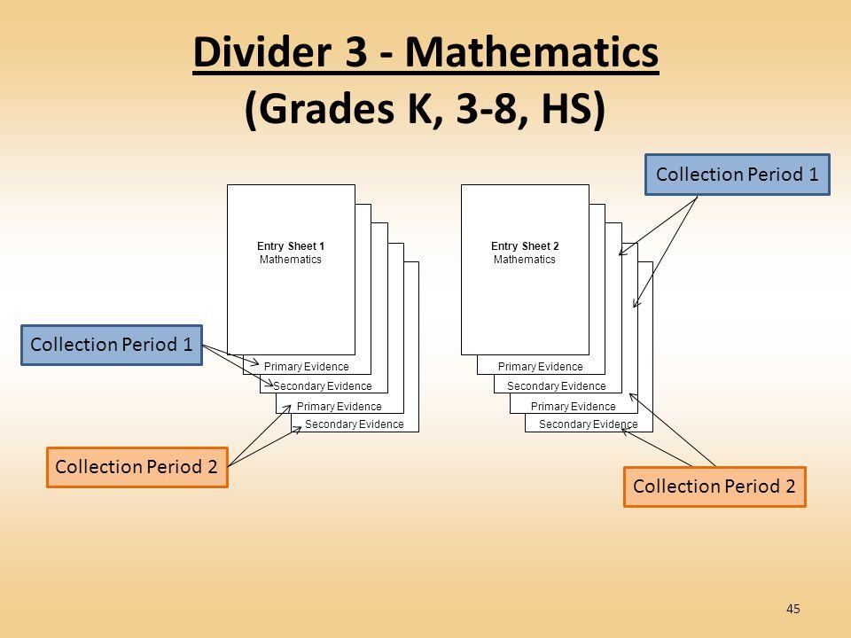 Divider 3 - Mathematics (Grades K, 3-8, HS) Secondary Evidence Primary Evidence Secondary Evidence Primary Evidence Entry Sheet 1 Mathematics Secondary Evidence Primary Evidence Secondary Evidence Primary Evidence Entry Sheet 2 Mathematics Collection Period 1 Collection Period 2 45