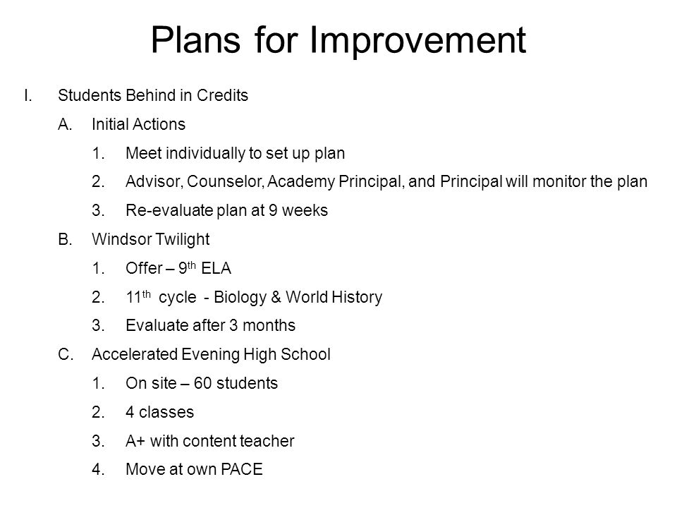 Plans for Improvement I.Students Behind in Credits A.Initial Actions 1.Meet individually to set up plan 2.Advisor, Counselor, Academy Principal, and Principal will monitor the plan 3.Re-evaluate plan at 9 weeks B.Windsor Twilight 1.Offer – 9 th ELA 2.11 th cycle - Biology & World History 3.Evaluate after 3 months C.Accelerated Evening High School 1.On site – 60 students 2.4 classes 3.A+ with content teacher 4.Move at own PACE