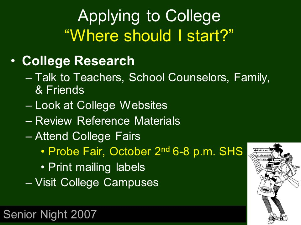Applying to College What am I looking for? Looking for The Perfect FIT –Location –Size –Admission Requirements Freshman Profile or Class Profile –Cost of Attendance –Financial Aid Senior Night 2007