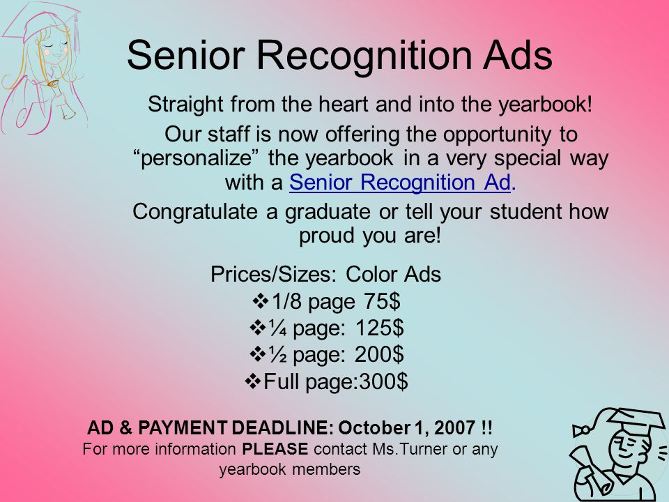 Senior Recognition Ads Straight from the heart and into the yearbook.