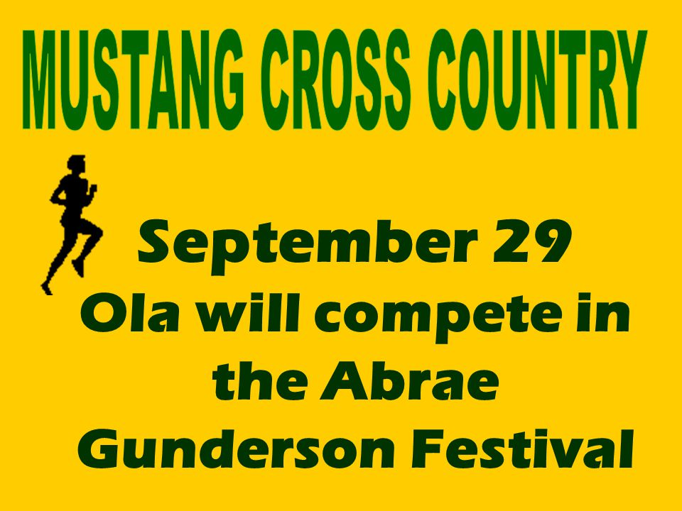 September 29 Ola will compete in the Abrae Gunderson Festival