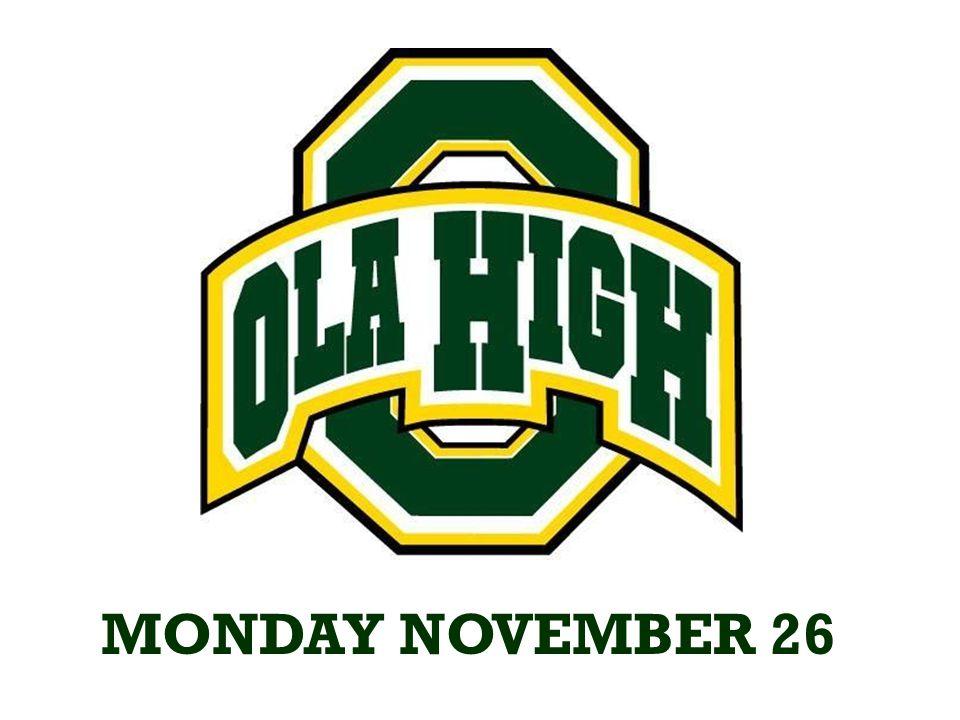 MONDAY NOVEMBER 26