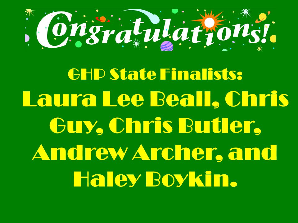 GHP State Finalists: Laura Lee Beall, Chris Guy, Chris Butler, Andrew Archer, and Haley Boykin.