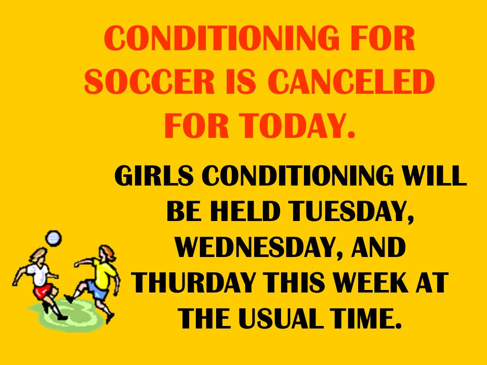 GIRLS CONDITIONING WILL BE HELD TUESDAY, WEDNESDAY, AND THURDAY THIS WEEK AT THE USUAL TIME.
