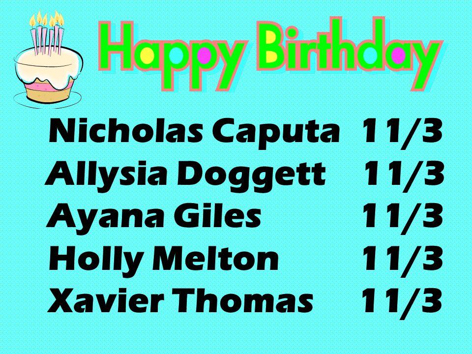 Nicholas Caputa 11/3 Allysia Doggett 11/3 Ayana Giles 11/3 Holly Melton 11/3 Xavier Thomas 11/3