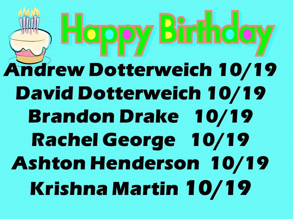 Andrew Dotterweich 10/19 David Dotterweich 10/19 Brandon Drake 10/19 Rachel George 10/19 Ashton Henderson 10/19 Krishna Martin 10/19