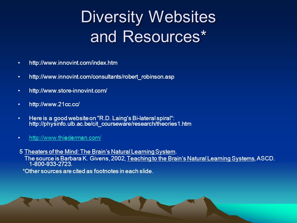 Diversity Websites and Resources* http://www.innovint.com/index.htm http://www.innovint.com/consultants/robert_robinson.asp http://www.store-innovint.